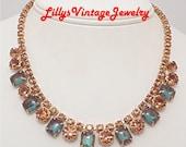 Rare Vintage SAPHIRET Topaz Rhinestones Necklace