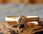 Diamond Engagement Ring, Champagne Solitaire Diamond Wedding Ring
