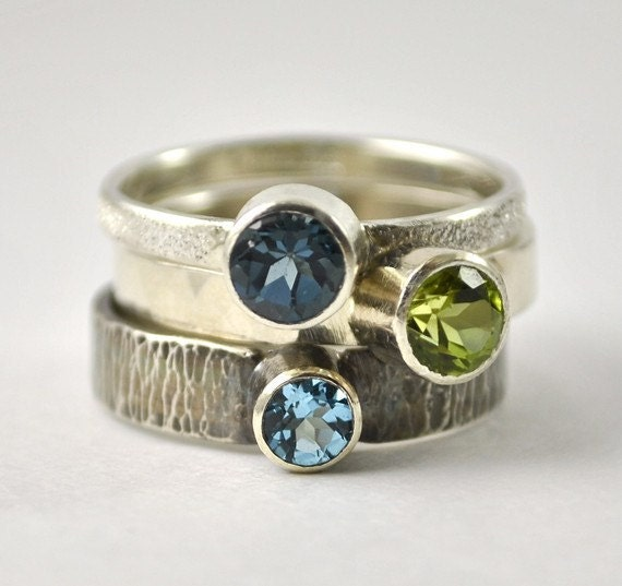 Peridot, London Blue and Swiss Blue Topaz Stacking Ring Set