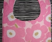 Pink Poppy Baby Bib with a snap. Finland