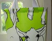 Baby cow OIL CLOTH Tote bag, small , lime green, Finland, super fun