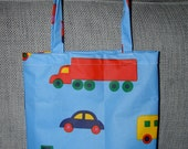 Bo Boo OIL CLOTH Tote bag, small , blue red yellow, Finland, cars and trucks