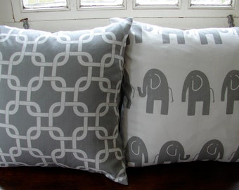 Pillow set of 2,  Elephant, durable cotton canvas, gray and soft white