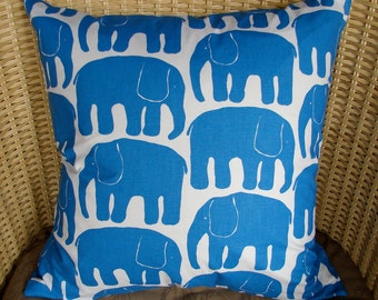 "Blue Retro Elephant pillow case, 20x20"", 50x50cm, from Finland"