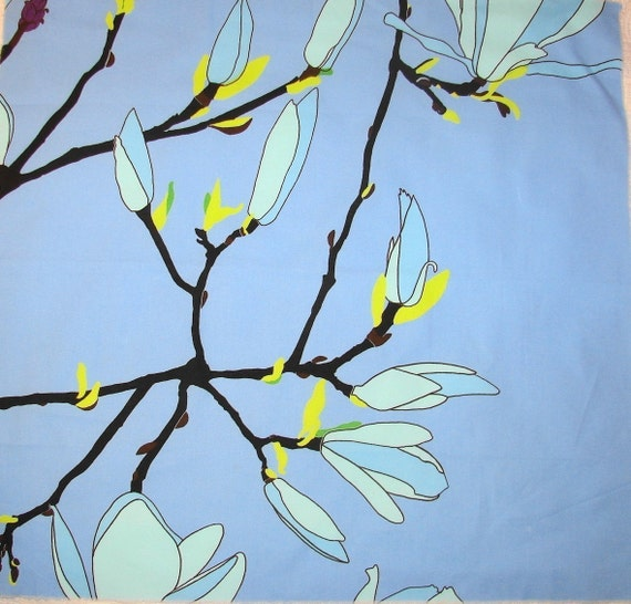 "Marimekko Blue Keisarinna Cotton Fabric, 20 x32"", Finland"