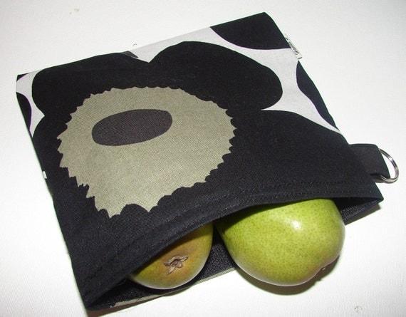 Black Pieni Unikko Snack / make up / Wet / Baby /Bag/ Pouch, BIG, 7,5 x 6 inches, Finland