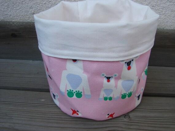 Pink Polar Bear, Jaakarhu Fabric Canvas Basket from Finland