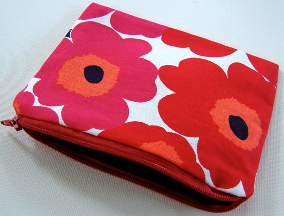 Red Mini Unikko Coin Purse, poppies, Finland