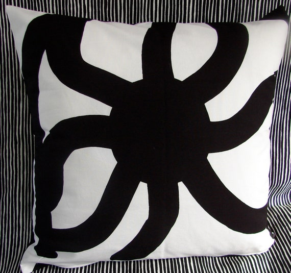 Geometric Black and White Pillow Cushion Cover, 18 x 18 inches,  double sided, from Finland