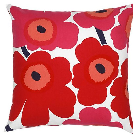 """Red Pieni Unikko Pillow Casing from Finland. 20x20"""", 50x50cm"""