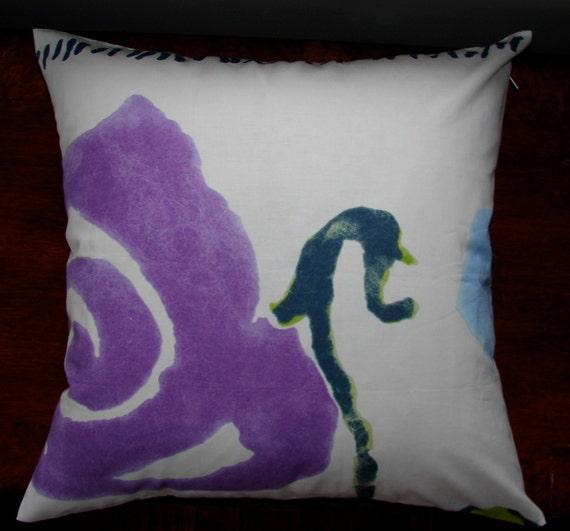 "Ruusunjalostaja, purple rose cotton pillow case, 18"", 45cm, FInland"