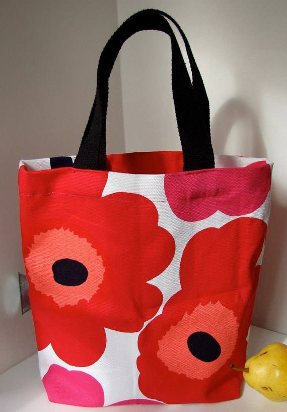 Red Pink Unikko Heavy Canvas Tote Purse Bag for a Girl, Finland