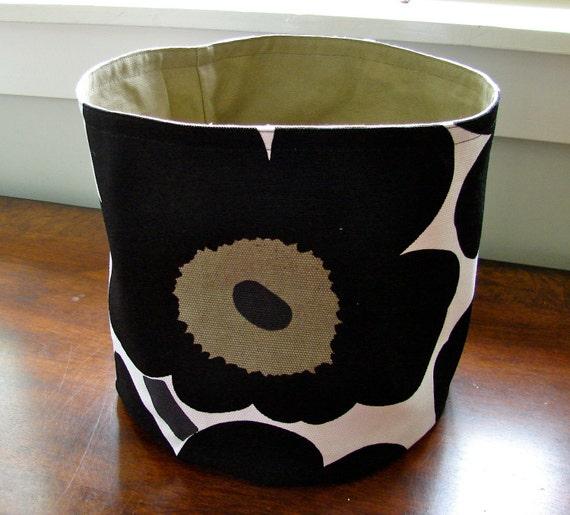 Handmade Marimekko Black Unikko Upholstery Canvas  BIG Basket, Bucket  Finland