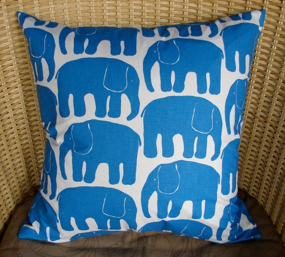 "Blue Retro Elephant pillow , 20x20"", 50x50cm, from Finland"