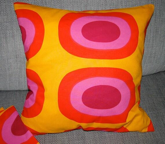 "Marimekko Melooni fabric pillow case from Finland. 16"", 40 cm, Finnish designer fabric"