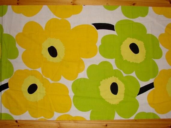 "Marimekko Big Unikko Fabric,  Yellow Lime Green ,Maija Isola, Finland 31x43"""