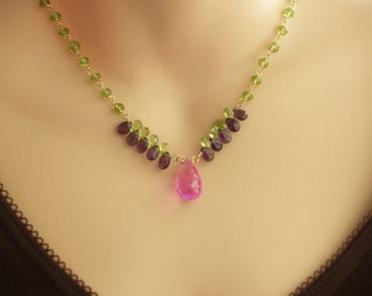 50% OFF, Pink Topaz Necklace (Lab), Peridot Necklace, Amethyst Necklace, Spring Bridal Wedding Necklace, Wire Wrapped Jewelry, Gifts For Her