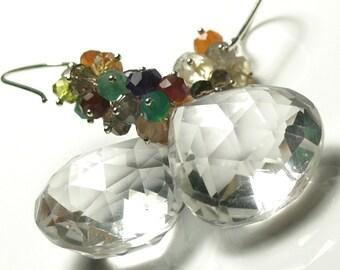 HUGE Rock Crystal Quartz Earrings, Cluster Earrings, Statement Earrings,Amethyst Earrings,Multi Gemstone Earrings, Statement Earrings