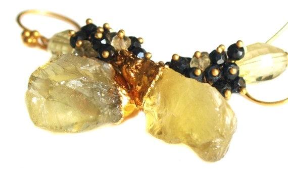 Rough Lemon Quartz Earrings With Spinel, Lemon Quartz Earrings, Raw Quartz Earrings, Gold Electroplated Gold Dipped Quartz Jewelry