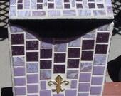 Fleur-de-lis Purple Mosaic Mailbox