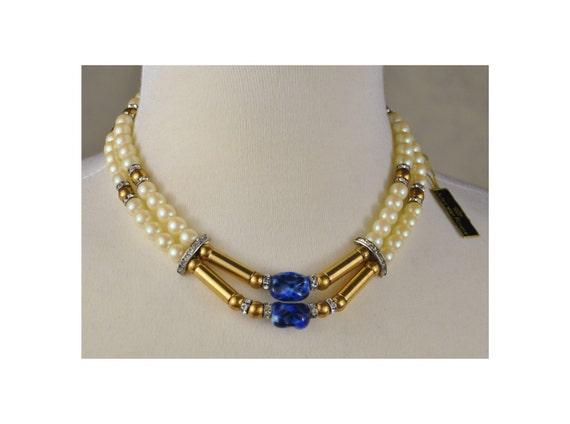 Vintage Jules Van Rouge 2 Strand Faux Pearl With Blue Stone
