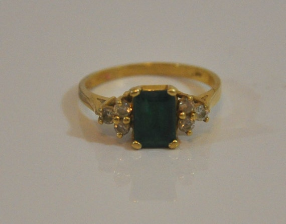 1992 Emerald and Diamond 14K Yellow Gold Ring Signed FM Size 5