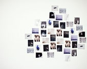 Wall Art Kit -  Modern Photography - DIY Home Office Party Wedding Decor - Black White Violet Blue Photo Prints