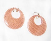 SALE Large Vintage Peach and Gold Lucite Plastic Wire Earrings