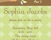 Owl Custom Party Invitation