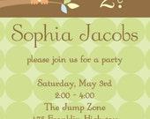 Owl Custom Party Invitation