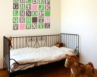 Alphabet Blocks Pink Green Wall Decals (Repositionable)