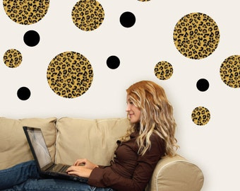 Leopard Print Dots Wall Decals, Removable & Reusable