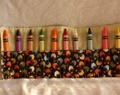 Roll up crayon holder for girls - brown with rainbow colored butterflies