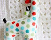 Soft, red blue and green polka dots, minky, cotton, stuffed animal baby boy toy