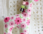 Soft, pink flowers, minky, cotton, stuffed animal baby girl toy