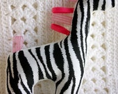 RESERVED FOR	sueck--custom order stuffed minky giraffe with zebra print and hot pink ribbon.