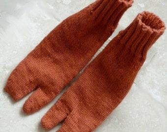 Orange Wool Tabi Socks - Large