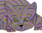 Cat Card- Greeting Card- Cat Art Cards- Pounce 5x7 Card by beckyzimm