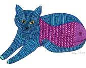 Cat Card- Greeting Card- Cat Art Cards- Tiva Blue Fishbelly 5x7 Card by beckyzimm