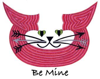 Crazy Cat Lady- Valentine Card- Cat Valentine- Cat Illustration- Cat Greeting Card- Cat Drawing- Cat Art- Cat Art Card- Be Mine by beckyzimm