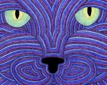 Cat Card- Greeting Card- Cat Art Cards- Annie Green Eyes 5x7 Card by beckyzimm