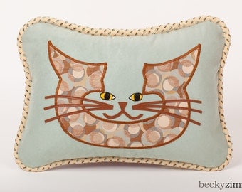 Cat face Pillow- Spotted Spa Leopard Pillow by beckyzimm design