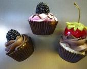 Three Mini Cupcake Magnets