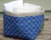 Vintage Linen Cozy Bowl with Food Safe Nylon Lining (Blue German Checks)