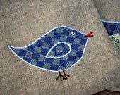 Little Blue Bird Organic Linen Sandwich Bag With Food Safe Lining