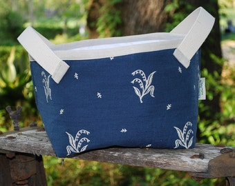 Heavy Cotton Storage Basket with Lily of the Valley Bouquets