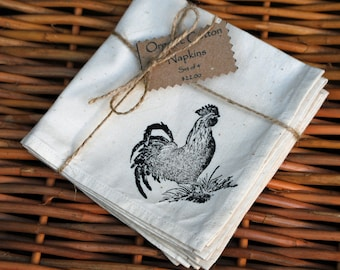 Organic Cotton Napkins--Country Rooster Hand Ink Stamp (Set of 4)