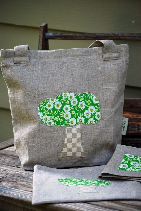 Lunch Under The GREEN TREE--Organic Linen Lunch Set