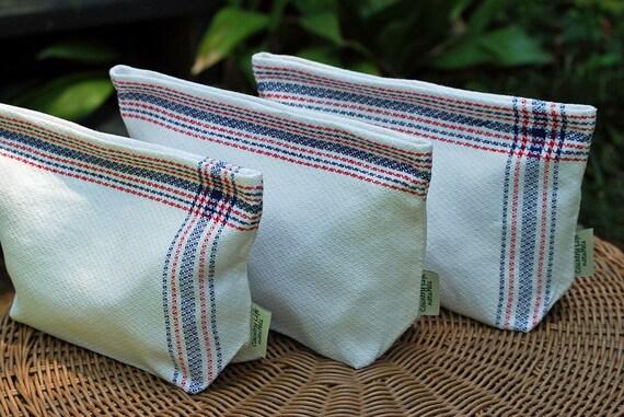 Large Vintage Linen Tea Towel  Lunch-Sandwich Bag Lined