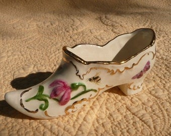Pink Roses, Butterflies and Bees on an Antique Style Shoe